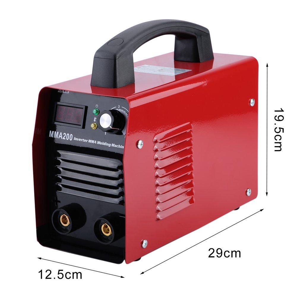 mma200 200 A 220 V Inverter S de mano Soldador electrodos MMA electrodo Soldadura dispositivo IGBT (Rojo): Amazon.es: Bricolaje y herramientas