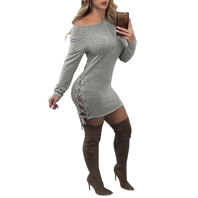 YiLianDa Vestido De Punto De Mujer Vestido De Fiesta Vestido Corto Mini Vestido Manga Larga De Invierno: Amazon.es: Ropa y accesorios
