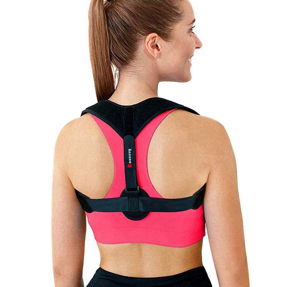 Raoccuy Posture Corrector for Men & Women,Back Brace for Posture Women,Relieves Upper Back & Shoulders Pain,Back Straightener Posture Corrector,Clavicle Support Adjustable Brace (Black)