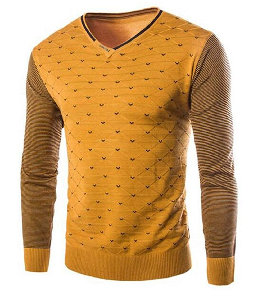 BYWX Men Point Ribbed Kintted Striped Pullover Long Sleeve Sweater Knit Jumper