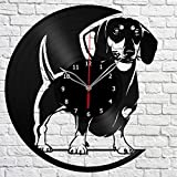 Dachshund Dog Vinyl Record Wall Clock Fan Art Handmade Decor Unique Decorative Vinyl Clock 12″ (30 cm) For Sale