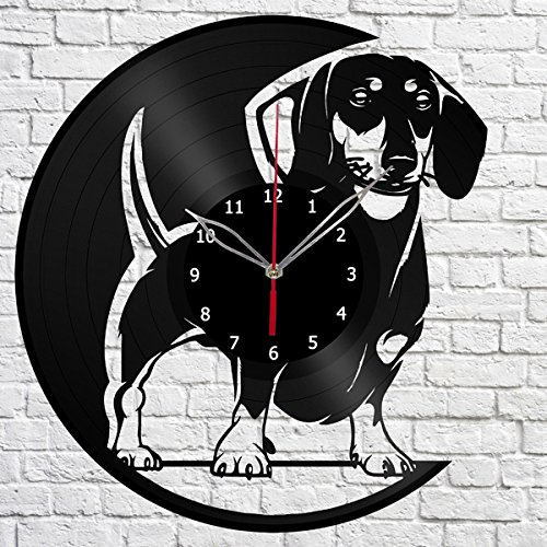 Dachshund Dog Vinyl Record Wall Clock Fan Art Handmade Decor Unique Decorative Vinyl Clock 12