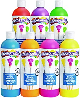 product image for Colorations Washable Tempera Paint, Set of 7, 16 fluid ounces oz, Set of 7, Fluorescent, Neon, Non Toxic, Vibrant, Bold, Bright, Kids Paint, Craft, Hobby, Fun, Art Supplies (Item # FSWTSET)