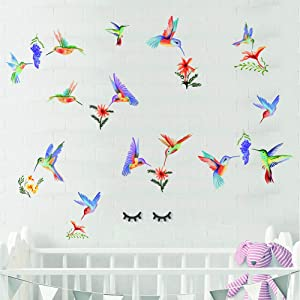 Watercolor Hummingbird Wall Sticker - Purple Grape Wall Decals - Bird&Flower Wall Art Stickers for Kid's Bedroom Livingroom Home Decor