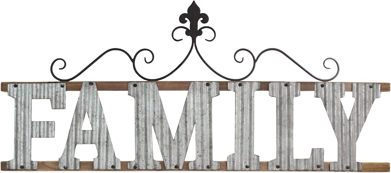 Stratton Home Décor S11553 Family Wall Sign, 38.98 W X 0.79 D X 16.14 H, Galvanized Metal, Natura Wood & Black