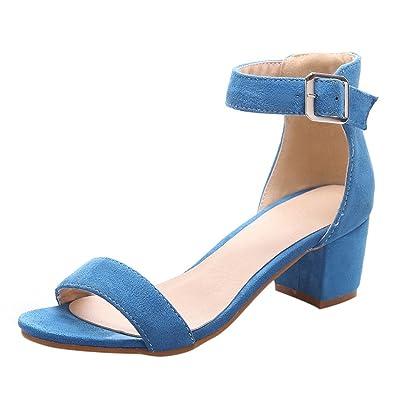 YE Damen High Heels Riemchen Sandalen Blockabsatz Pumps mit Schnalle 6cm Absatz Abend Sommer Schuhe