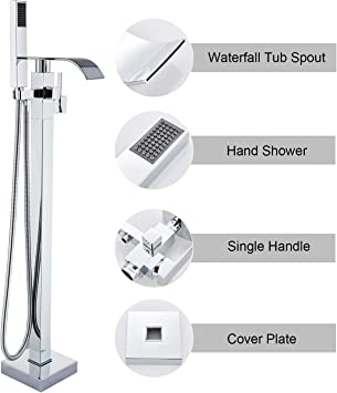 Brand New Freestanding Thermostatic Waterfall Bathroom Tub Faucet /& Hand Shower