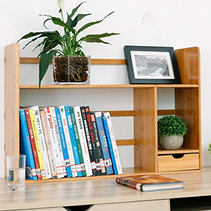 Simple Table Rack With Drawers Student Bookshelf Desk Solid Wood Storage Desktop Small Size