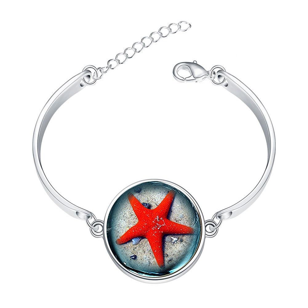 DOME-SPACE Adjustable Silver Bracelets Galaxy Earth Planet Theme PhotoHand Chain Link Bracelet Clear Bangle Custom Glass Cabochon Charm