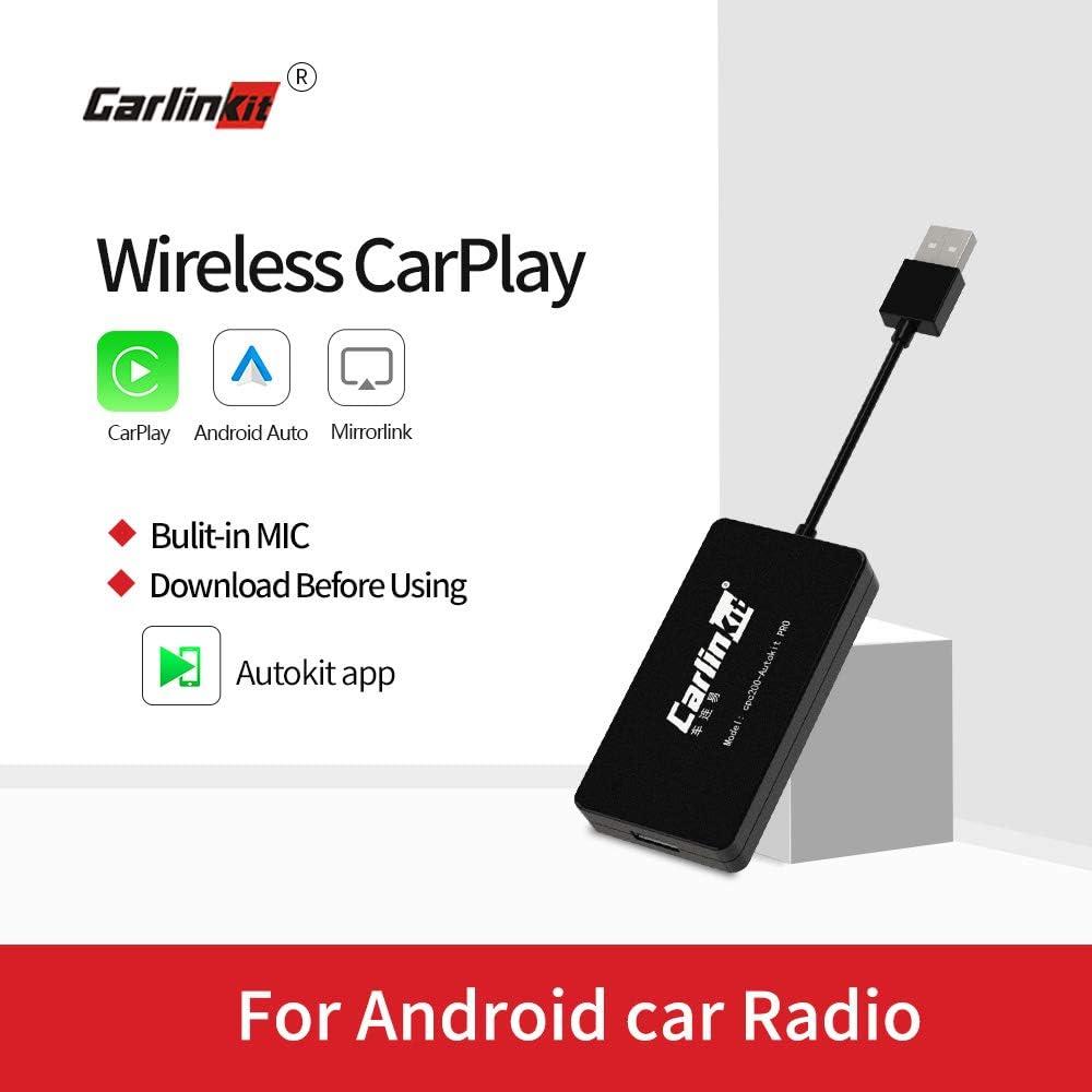 Carlinkit Wireless Carplay Dongle con Mic Compatible con la Unidad Principal de Android del Mercado de Accesorios, admite Carplay/Android Auto/Mirroring, NO escompatible con Factory Carplay Car