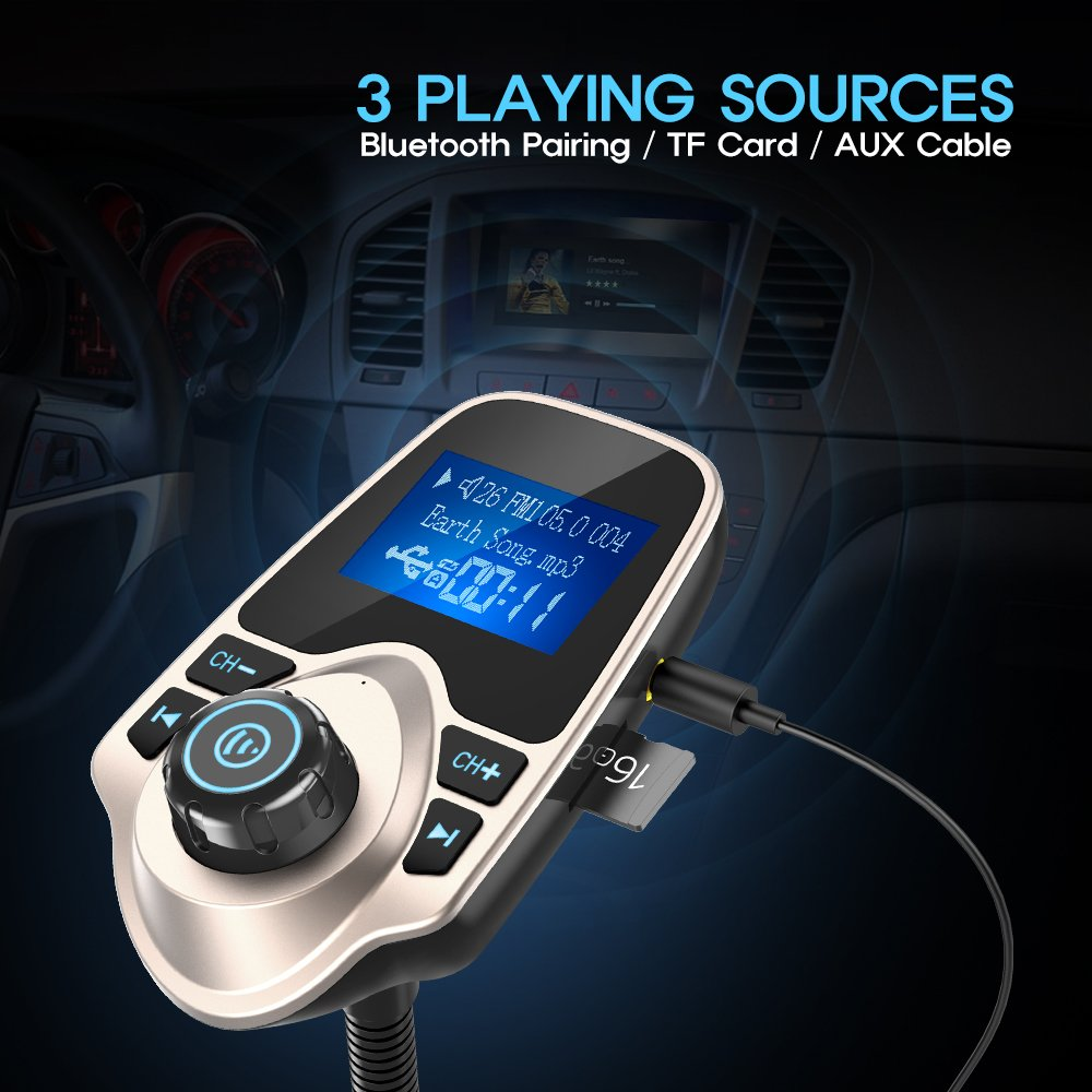 Nulaxy Wireless in-Car Bluetooth FM Transmitter Radio Adapter Car Kit with 1.44 Inch Display and USB Car Charger Peacock Blue B01N0OH8VL B01MFBIF99 B01EC8OUFQ