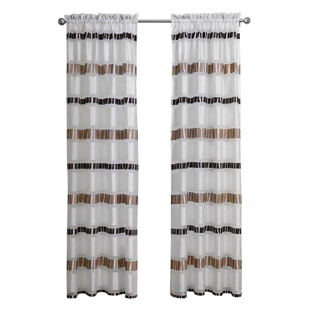 ChezMax Striping Pattern Drapery Decorative Semi Sheer Curtain Panels Grommet One Panel 52 W x 63 L Brown CM-BB-C21149-52x63
