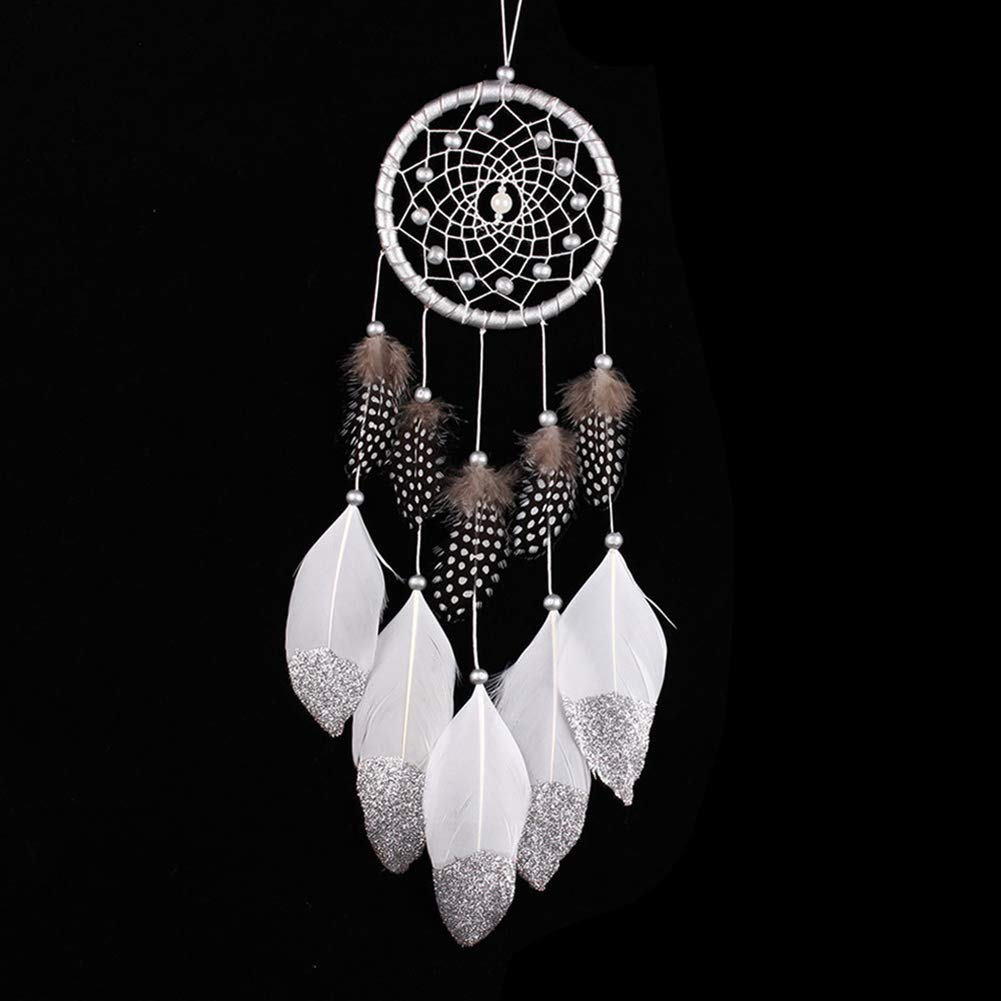 AkoMatial Handmade Dream Catcher-Fashion Car Home Feathers Beads Dream Catcher Hanging Decoration Wall Ornament - Silver