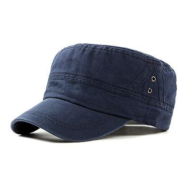 6845a55f86daf Plaine Casquettes Militaire Chapeau de Soleil Homme Femme Unisexe Coton  Casquette Plate Casquette de Baseball