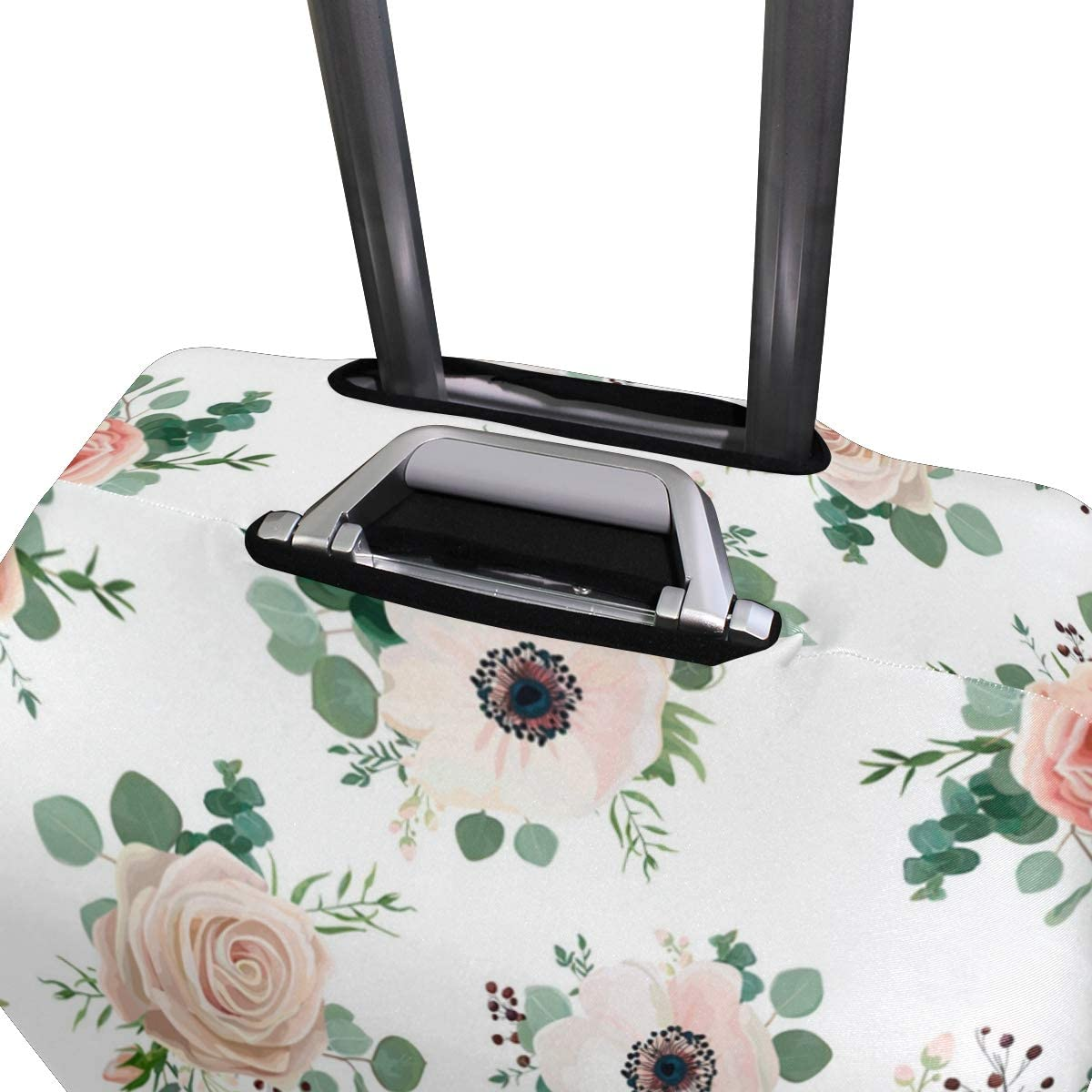 Soft White Rose Traveler Lightweight Rotating Luggage Protector Case Can Carry With You Can Expand Travel Bag Trolley Rolling Luggage Protector Case