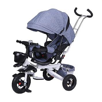 Triciclo Infantil/Carritos para bebés Carriagel Neumático Inflable Plegable 4 en 1 Durante 6 Meses a 6 años Asiento para niño y niña Puede Girar con toldo: ...