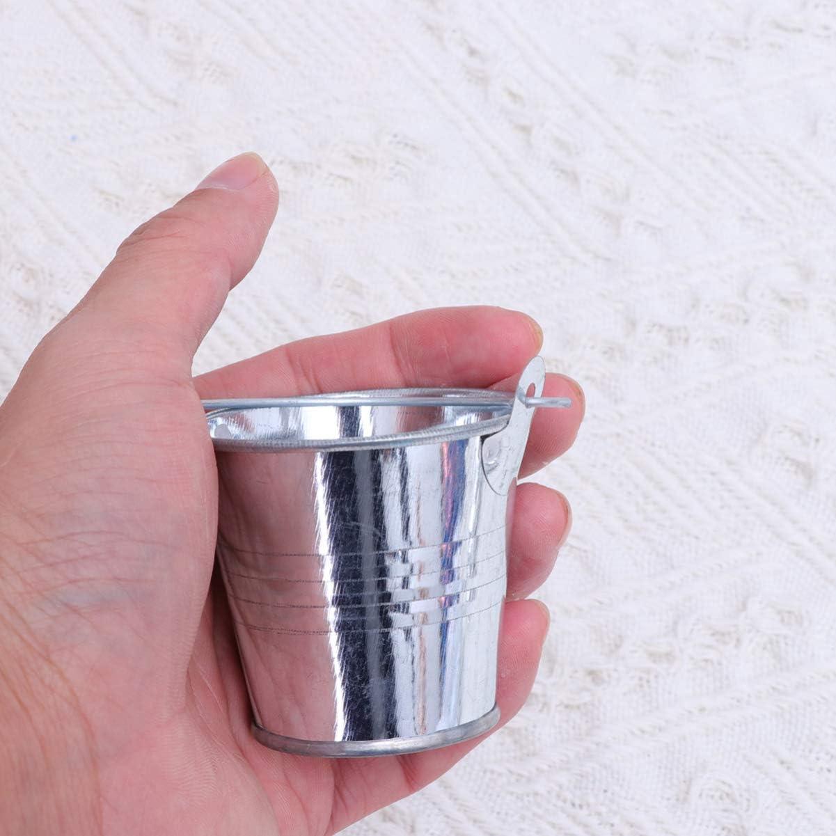 NUOBESTY 24 pi/èces Seaux /à Drag/ées Mini Fer Seaux Petit Seau M/étal avec poign/ées Bo/îte /à drag/ées Seau Cadeau de f/ête Mariage Pr/ésentoir Condiments Support cendrier
