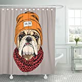 Emvency Shower Curtain Polyester Print 66x72 Inches White Animal Bulldog Portrait in Hipster Hat Knitted Scarf Dog Cool Funny Head Bathroom