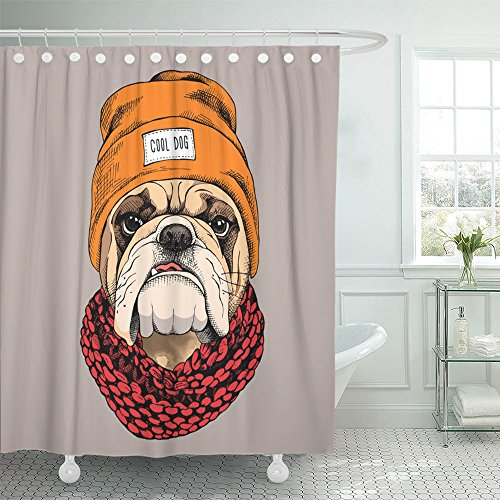 Emvency Shower Curtain Polyester Print 66x72 Inches White Animal Bulldog Portrait in Hipster Hat Knitted Scarf Dog Cool Funny Head Bathroom by Emvency