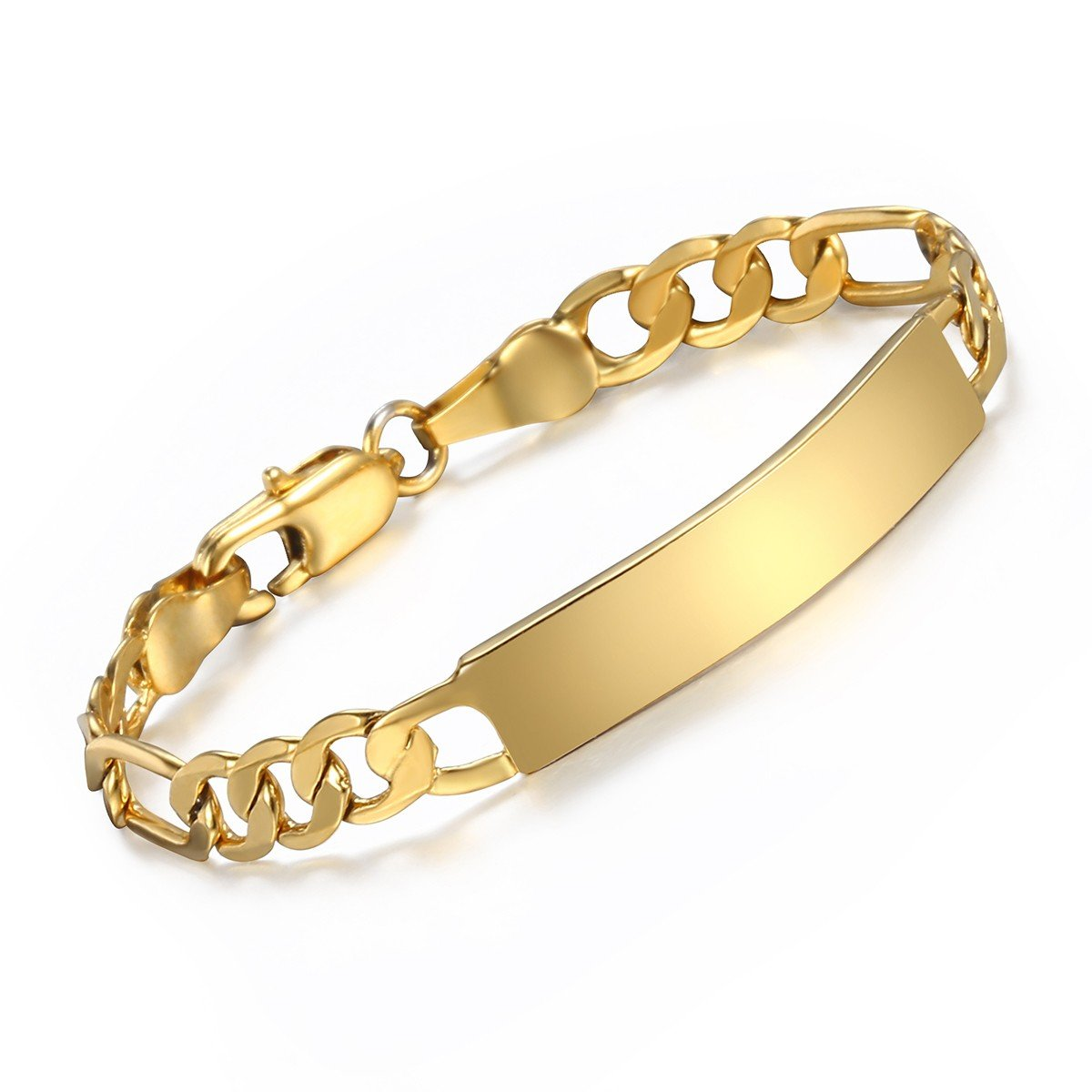 Trendsmax Yellow Gold Plated ID Bracelet for Baby Figaro Figaro Chain Smooth Bangle Link Fashion Jewelry 4.5inch GB426B