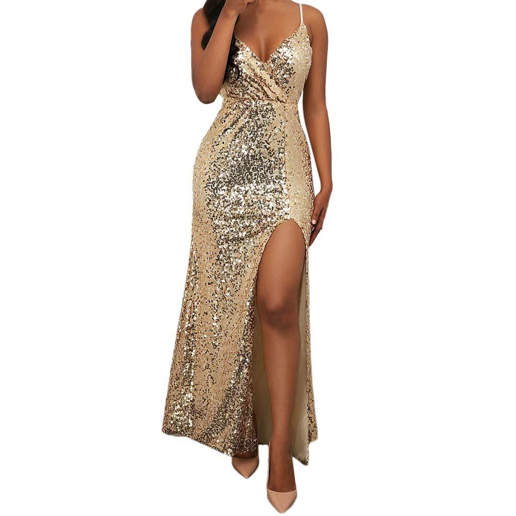 Dress for Women Sleeveless Slim V-Neck Floor-Length Dresses Vintage Flared A-Line Skirt Girl (Gold,XL)