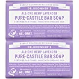 Dr. Bronner's - Pure-Castile Bar Soap (Lavender, 5 ounce, 2-Pack) - Made with Organic Oils, For Face, Body and Hair, Gentle a