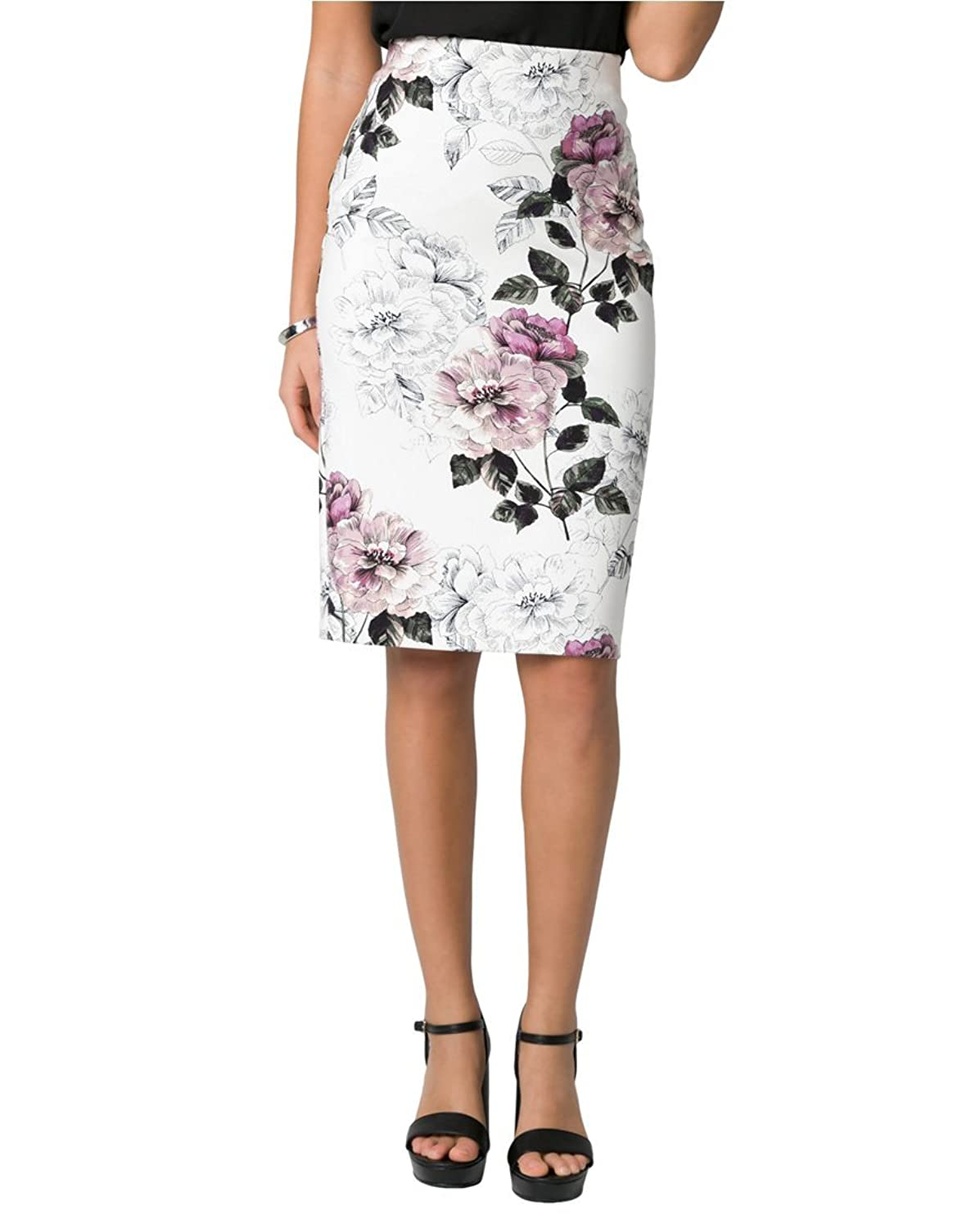 Le ChÂteau Women's Floral Print Ponte Pencil Skirt by Le Chateau