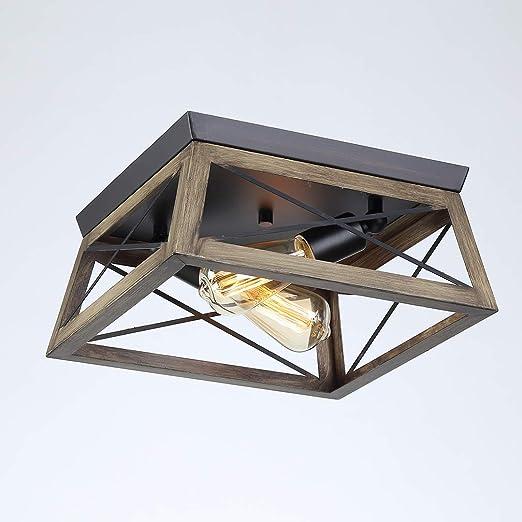 Lámpara de techo de madera retro vintage Luz de techo Escaleras pasillo Balcón Luces cuadrado hierro rustico Dormitorio Sala de estudio Iluminación sala de estar Lámpara de estilo industrial, 2xE27: Amazon.es: Iluminación