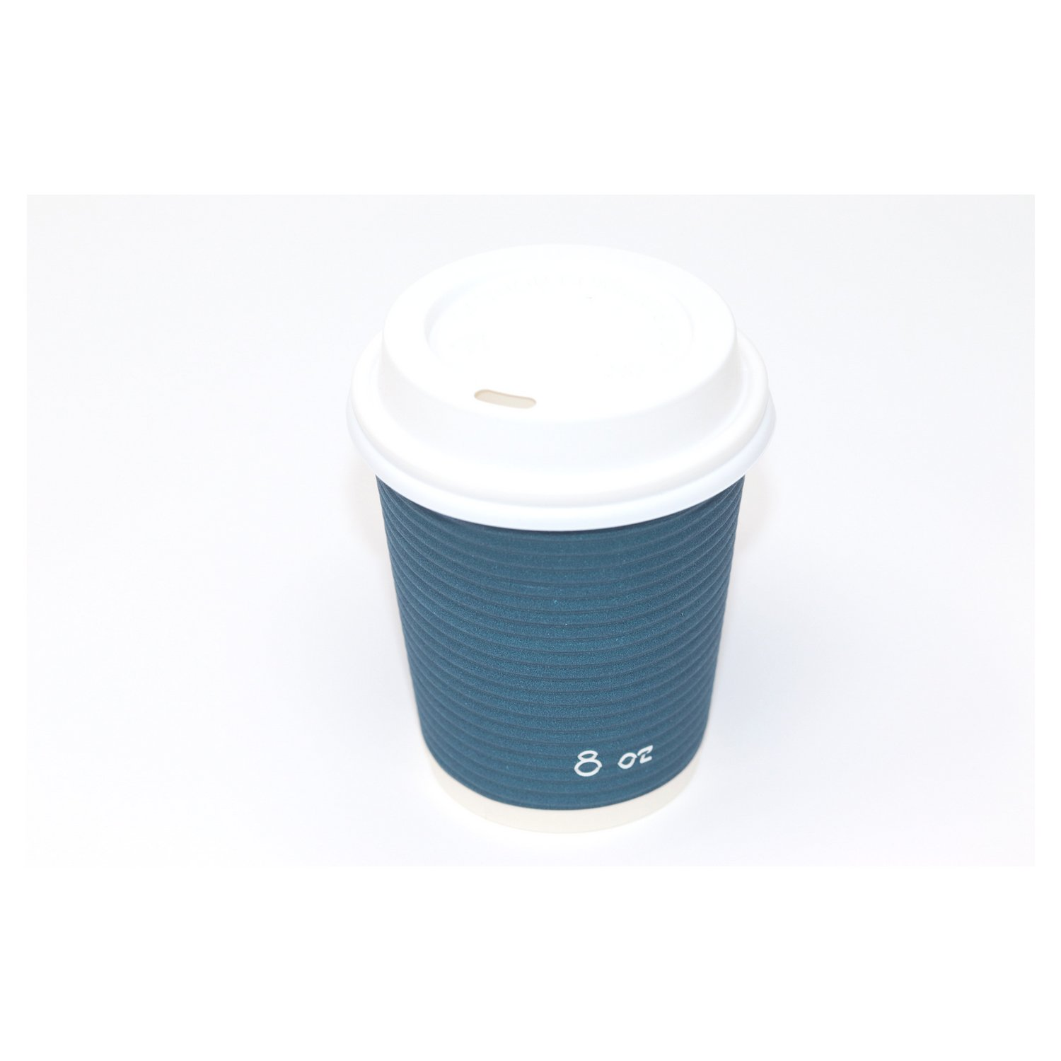 Disposable Insulated To Go Ripple Biodegradable Hot Coffee Cups with Lids [8 oz with Lid] by Berkley Square (Image #3)