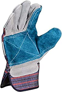 Azusa Safety S96112 Natural Leather Safety Work Gloves, X-Large, Natural/Blue Color (Pack of 12 Pairs)