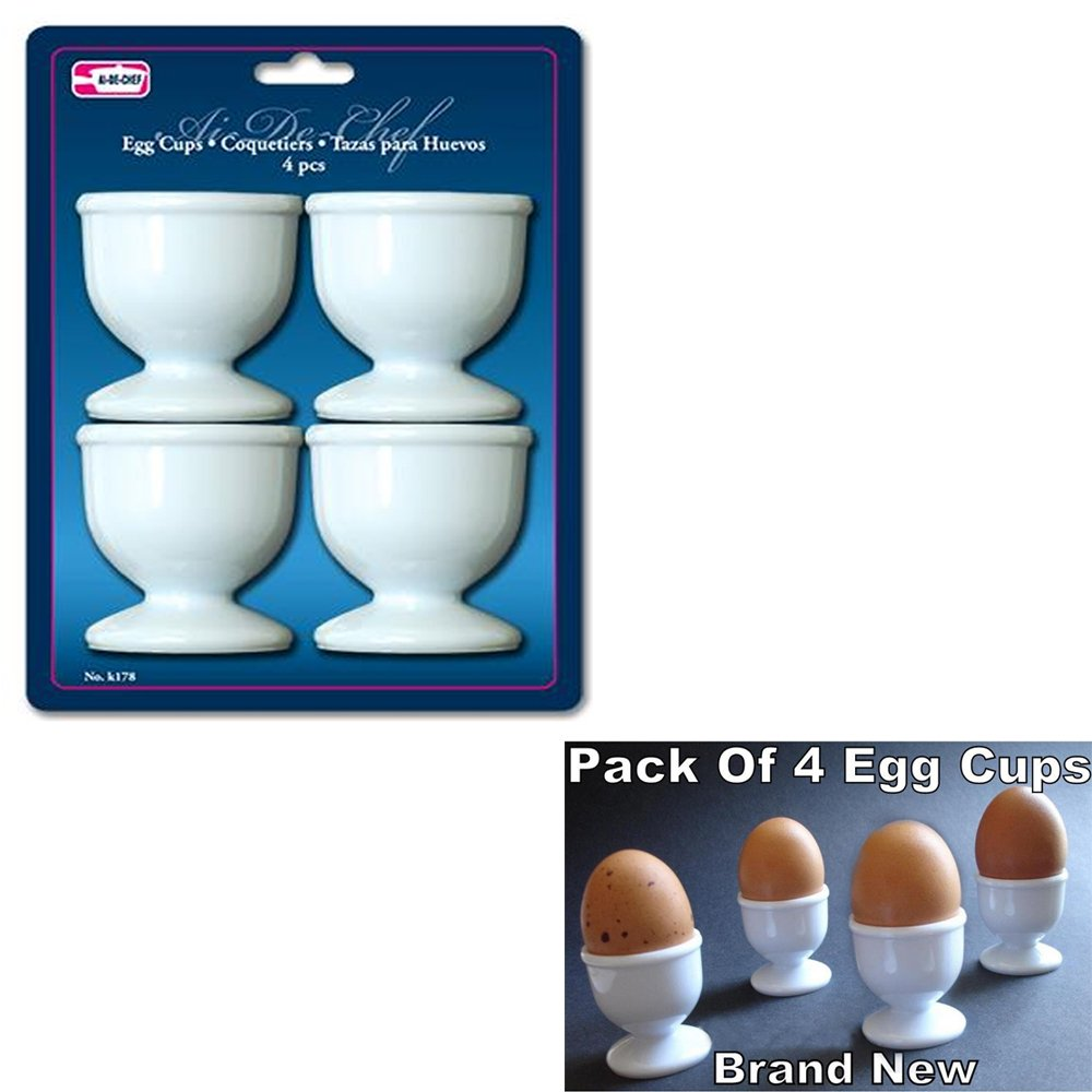 1 X Egg Cups Set 4 PC Poached Hard Boiled Breakfast White Save Kitchen Hot Food New Symak Sales Co SYNCHKG067300 k0178