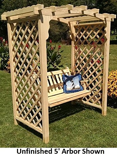 Backyard Crafts Amish-Made Jamesport Style Pine Arbor with Swing - 5' Wide Walkthrough, White