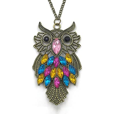 Amazon antique alloy with colour crystal owl long prendant antique alloy with colour crystal owl long prendant bronze necklace aloadofball Images