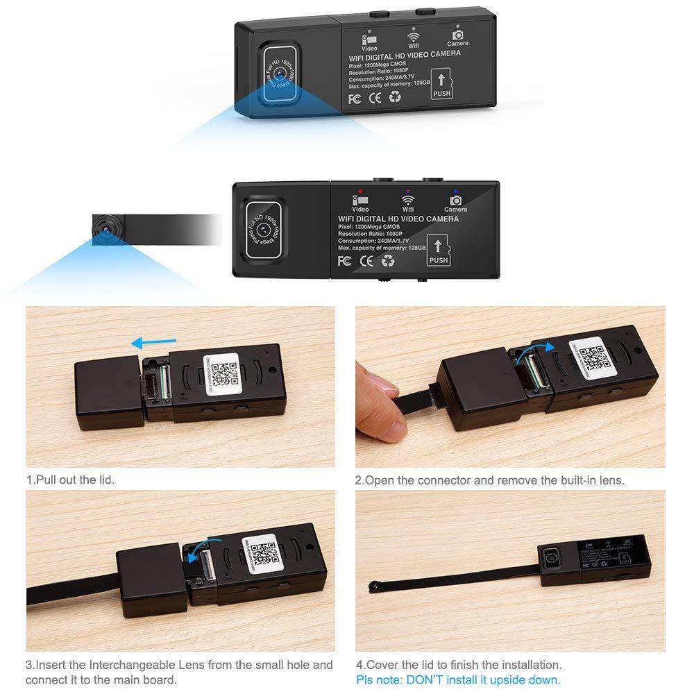TOPmountain Sensor De Movimiento Dual De La Cámara De DIY De La Visión Nocturna 4K / 2K / 1080P / 720P De La Mini Cámara Dv De WiFi: Amazon.es: Hogar