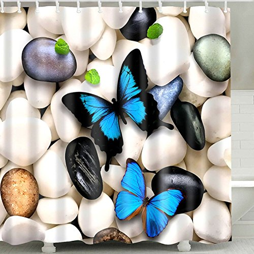 Falling Leaves Bath Towel (Butterfly Decor Shower Curtain Fabric,Cute Animal Beautiful Stone Country Style Spring Bath Curtain Set 3D Art Printing,Waterproof Bathroom Accessories with Hooks,72x72 Inch,Ivory Blue and Black)