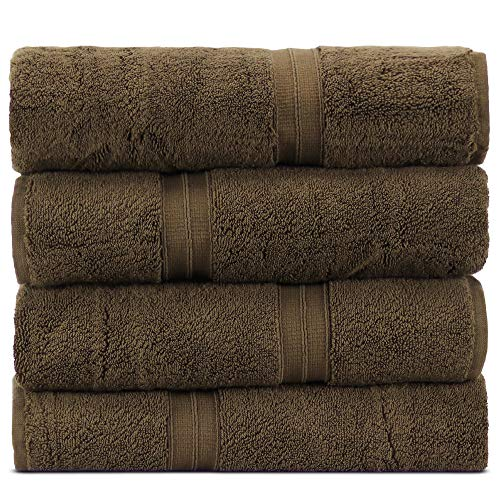- Towel Bazaar 100% Turkish Cotton 27 x 54 Inch, 4 Pack Bath Towel, Multi-purpose, Lightweight, Highly Absorbent Hotel Quality, Machine Washable Sport and Workout Towels, Square Border (Cocoa)