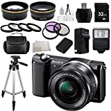 Sony Alpha a5000 ILCE-5000L/B ILCE5000LB ILCE5000 20.1 MP SLR Camera with 16-50mm Lens (Black) + 32GB Bundle 20 PC Accessory Kit.