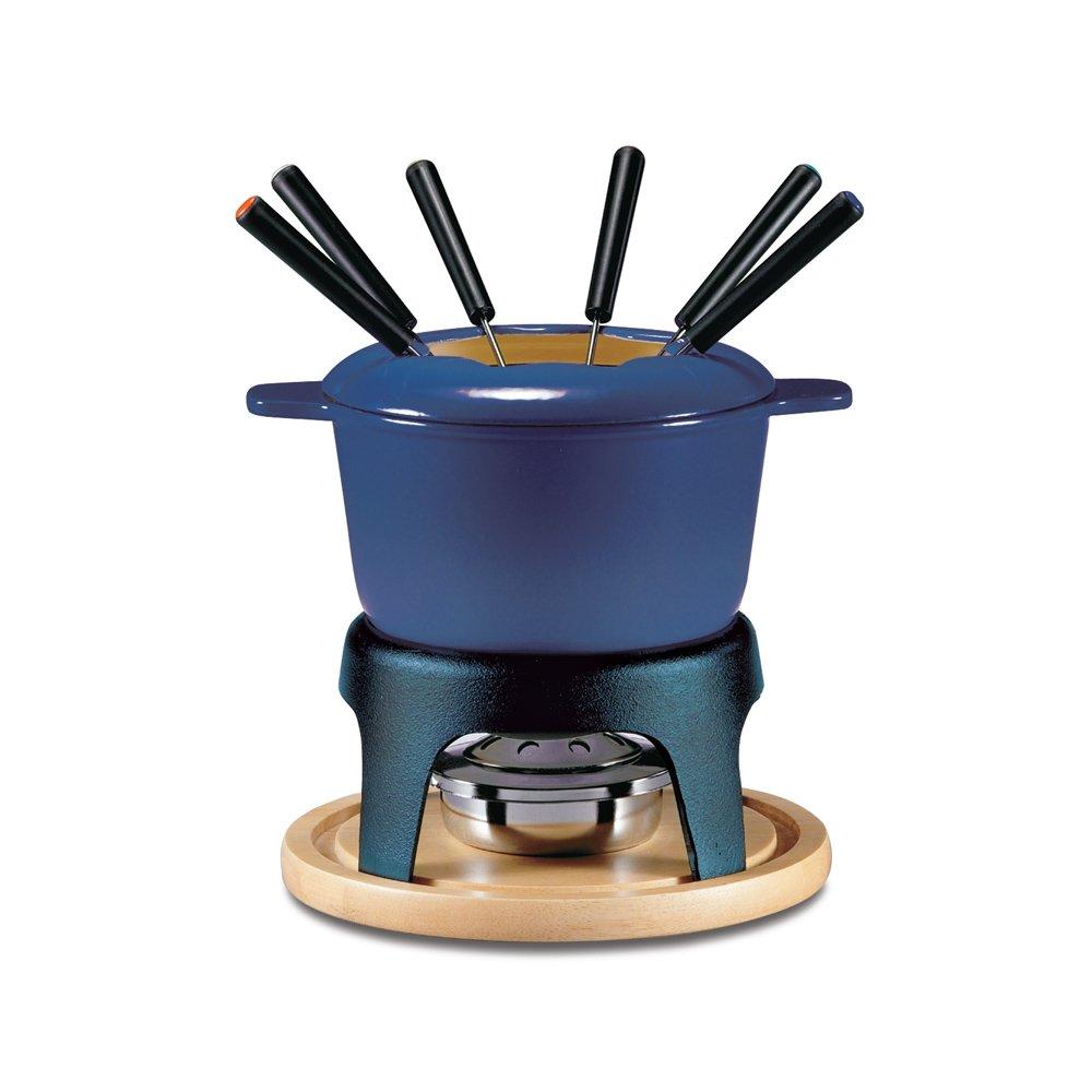 Swissmar F66706 Sierra 1.6-Quart Cast Iron Meat Fondue Set, 11-Piece, Deep Blue