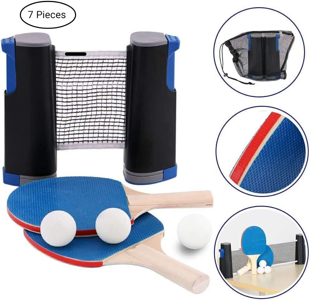 DankeSh Retractable Table Tennis Set with Retractable Net 2 Ping Pong Paddles and 3 Balls Includes Portable Bag for Home Indoor Outdoor Exercise