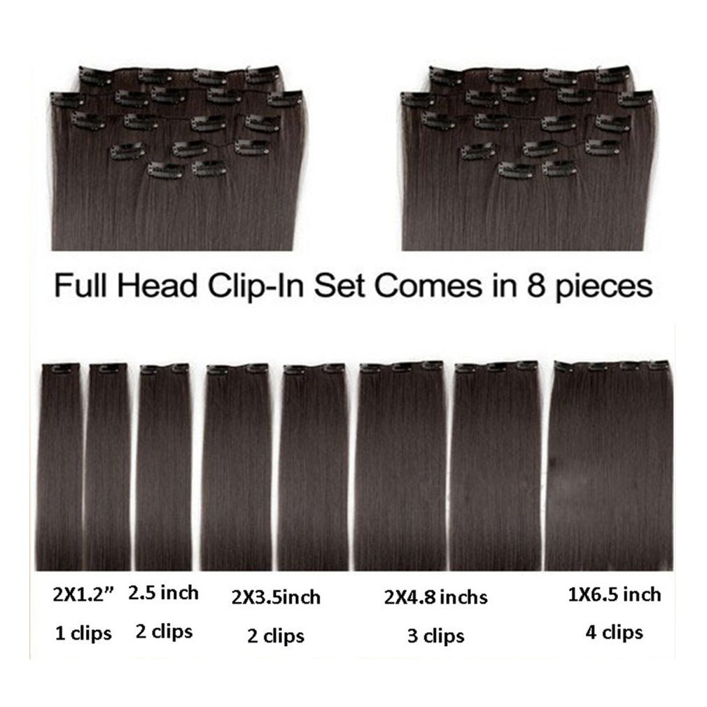 Clip in Hair Extensions Synthetic Full Head Charming Hairpieces Thick Long Straight 8pcs 18clips for Women Girls Lady (23 inches-straight, dark red) by Beauti-gant (Image #4)