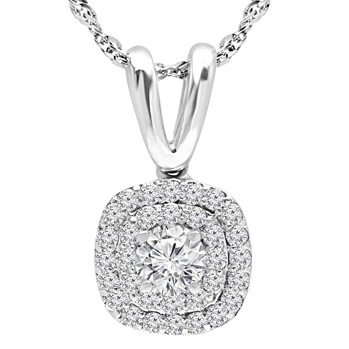1.75 Ct Round Cut Simulated Diamond Double Circle Halo Pendant With Chain 10k White Gold