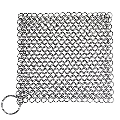 Stainless Steel Cast Iron Cleaner, Stainless Steel Rust Proof Scraper, Durable Cast Iron Cleaner For Pots, Skillets, Griddle Pans, BBQ Grills and More, With Hanging Ring