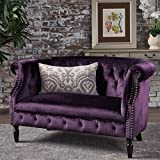 victorian home decor Great Deal Furniture 302212 Melaina BlackBerry Tufted Rolled Arm Velvet Chesterfield Loveseat Couch