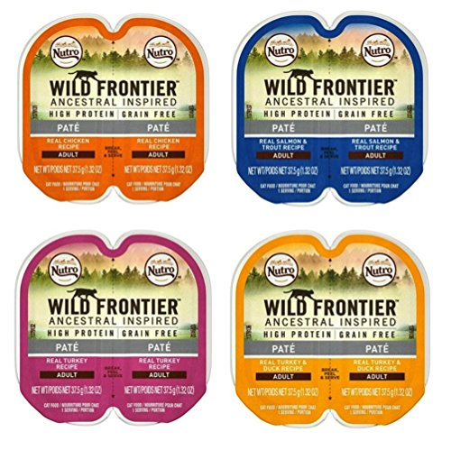 (Nutro Wild Frontier Grain Free Pate Cat Food 4 Flavor 8 Can Variety Bundle, (2) each: Chicken, Salmon Trout, Turkey, Turkey Duck (2.64 Ounces))