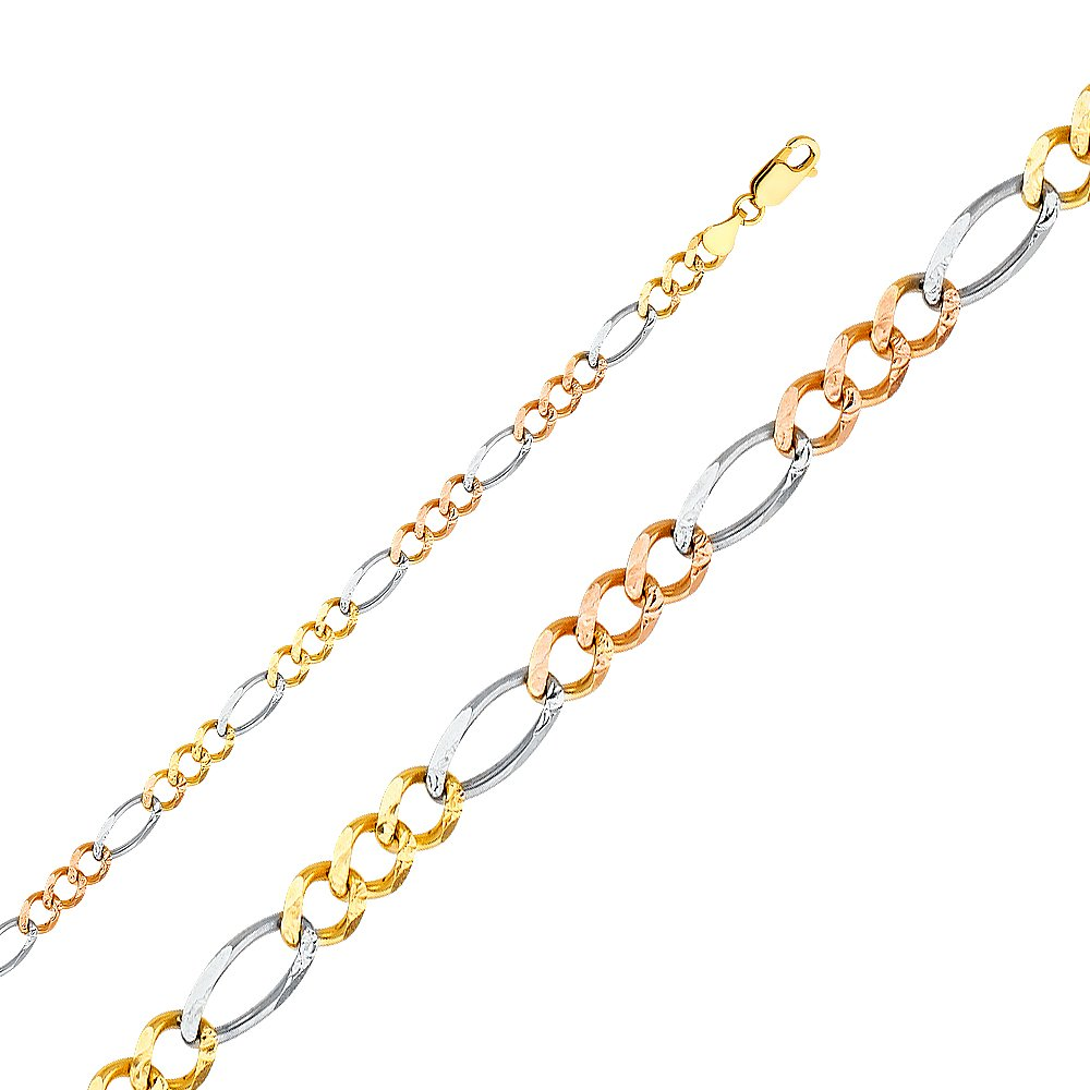 FB Jewels 14K White Yellow and Rose Three Color Gold Figaro Concave Chain Necklace With Lobster Claw Clasp