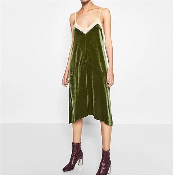 Amazon.com: Paule Trevelyan Outono inverno vestido de gaze de veludo quente cor verde sem mangas do vintage vestido longo de veludo brilhante strap vestido ...