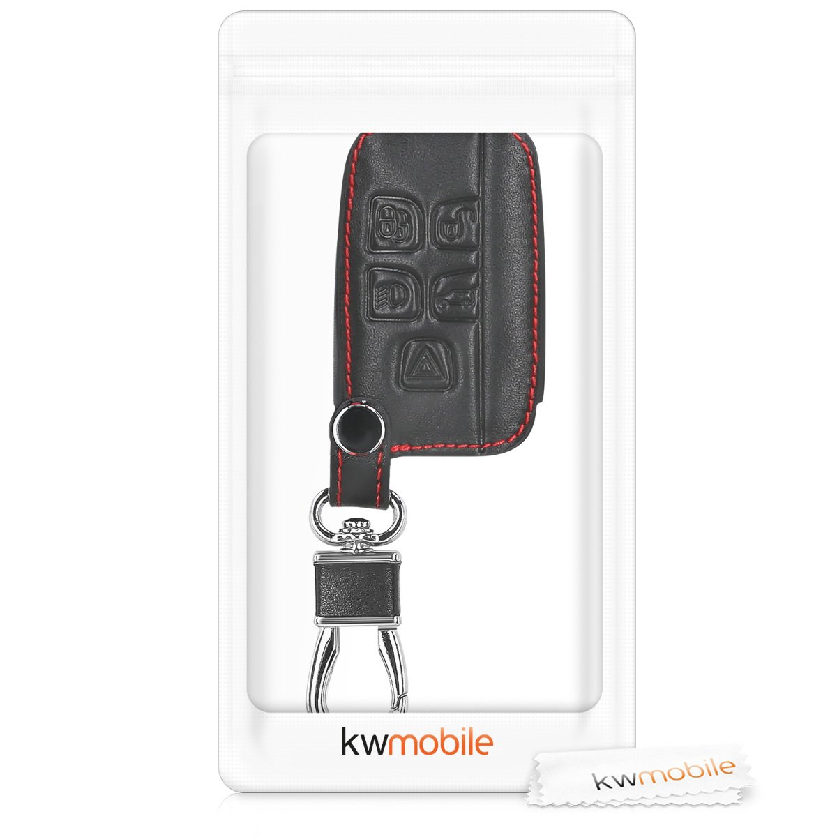 Heavy Duty PU Leather Protective Key Fob Cover for Land Rover Jaguar 5-Button Remote Car Key kwmobile Car Key Cover for Land Rover Jaguar Black