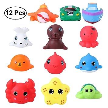 83aeda031797 TOYMYTOY juguetes de la del agua de baño del bebé tienen juguetes del  tiempo de la bañera de la diversión Juguetes de Baño Animales - paquete de  12: ...