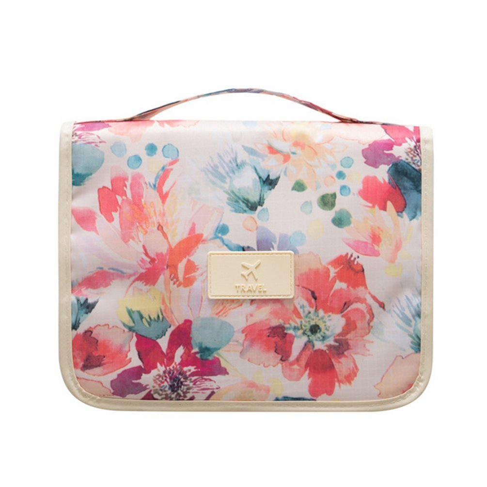 Portable Hanging Travel Cosmetic Bag - Mr.Pro Waterproof Organizer Travel Makeup Toiletry Bag for Women / Men, Shaving Kit with Hanging Hook for vacation (White Flower)