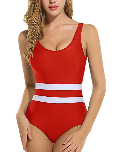 edf33050418 Halife Tummy Control Striped Bathing Suits for Women One Piece Monokini Red  M